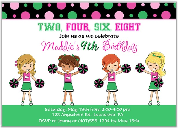 Cheerleader Birthday Party Invitations Cheerleader – Cheerleading Birthday Party Invitations