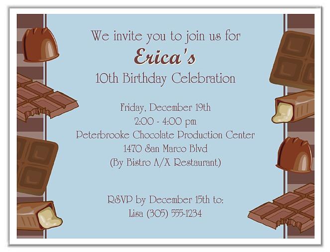Chocolate Themed Birthday Party Invitations Blue – Blue Birthday Invitations