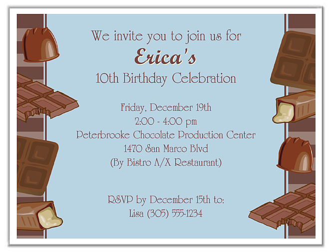 Chocolate Theme Birthday Party Invitations Blue