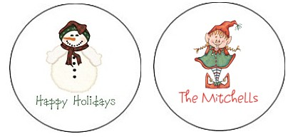 Christmas Round Envelope Seals Labels