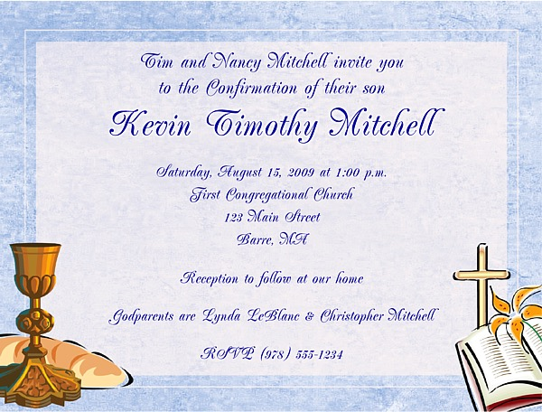 Confirmation First Communion Religious Invitations Boy Religious
