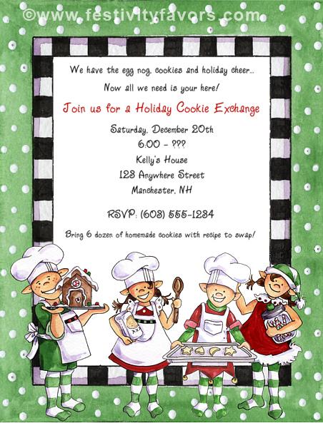 Christmas Cookie Swap Exchange Invitations – Christmas Cookie Party Invitations