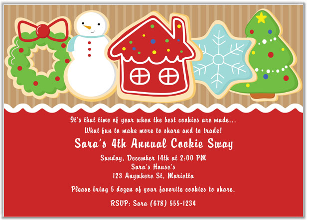 Christmas Party Invitations Cookie Swap Gingerbread Ugly Sweater – Christmas Cookie Party Invitations