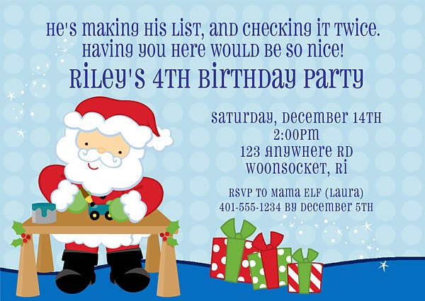 christmas santa claus birthday party invitations