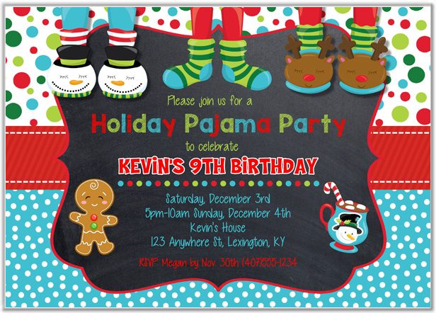 Christmas Holiday Pajama Party Invitations