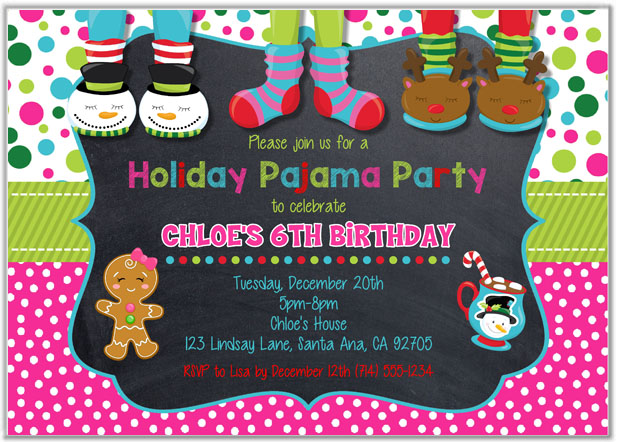 Christmas Holiday Pajama Party Invitations – Pajama Party Invites