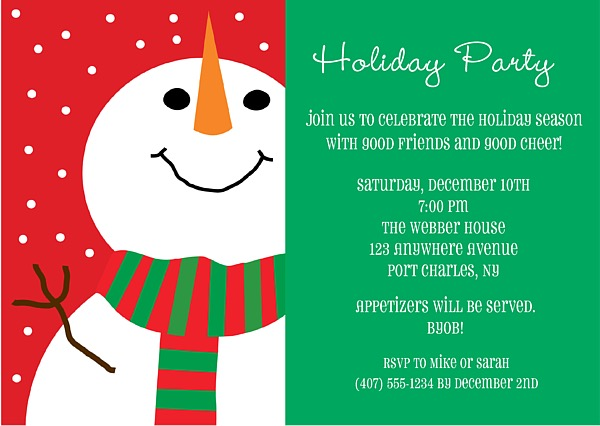 snowman holiday christmas party invitations, Party invitations