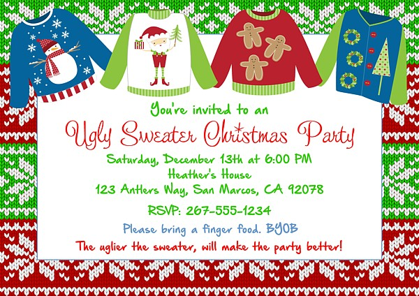 Ugly Christmas Sweater Party Invite.Christmas Party Invitations Ugly Sweater