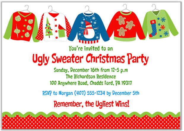 Ugly sweater christmas party invitations wording