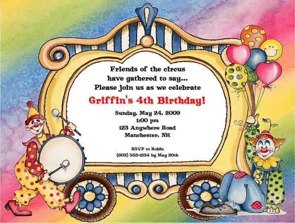 circus clown birthday party invitations circus kids birthday
