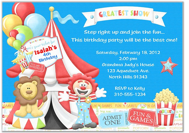 Circus Birthday Party Invitations Circus Kids Birthday - Birthday invitation cards circus