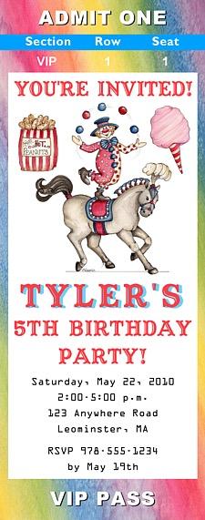 Circus Clown Birthday Party Ticket Invitations Circus Kids Birthday