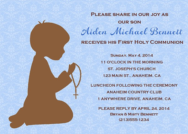 First Holy Communion Religious Boy Invitations Religious