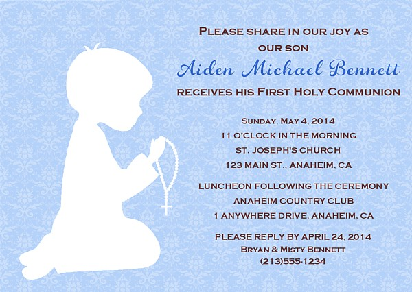First Holy Communion Religious Boy Invitations | Religious