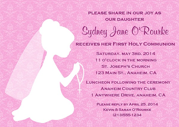 First Holy Communion Religious Girl Invitations | Religious