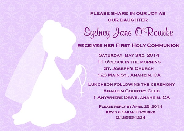 first holy communion religious girl invitations