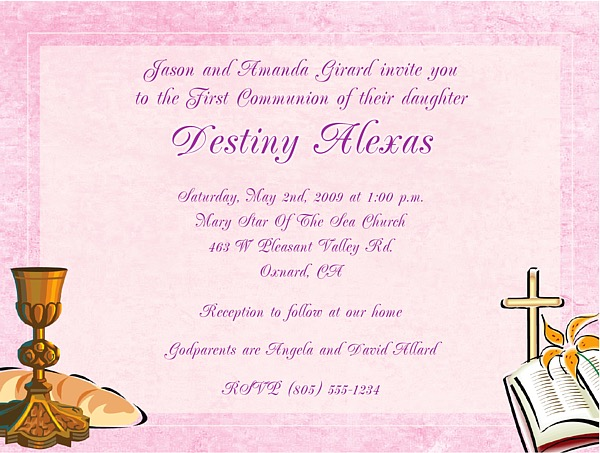 Confirmation First Communion Religious Invitations Girl – Confirmation Party Invitations