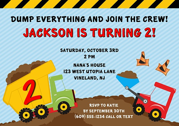 Construction Truck Birthday Party Invitations Construction Kids
