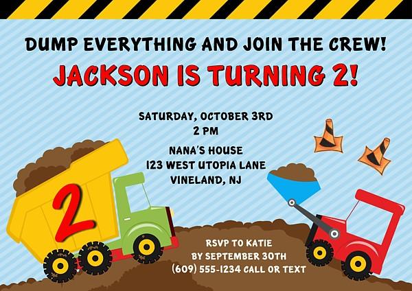 construction truck birthday party invitations | construction, Birthday invitations
