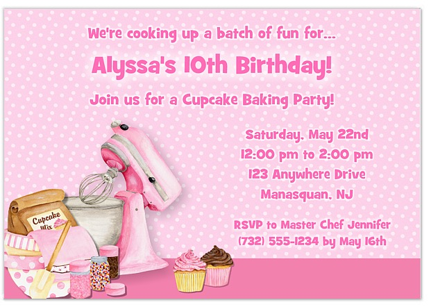 Cooking Baking Birthday Party Invitations Cooking Baking