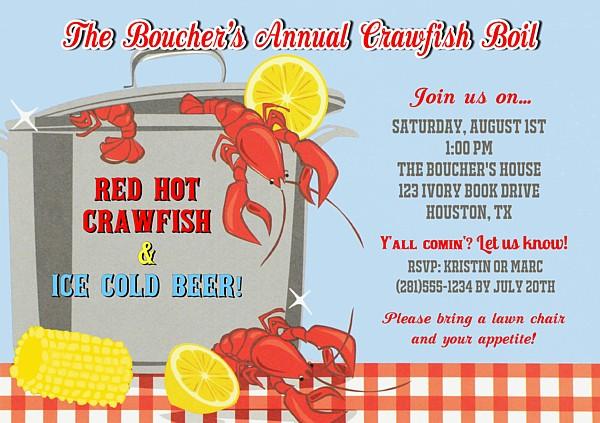 Crawfish Boil Party Invitations