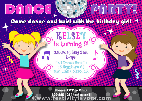 Dance Party Birthday Invitations Music – Dance Party Invites
