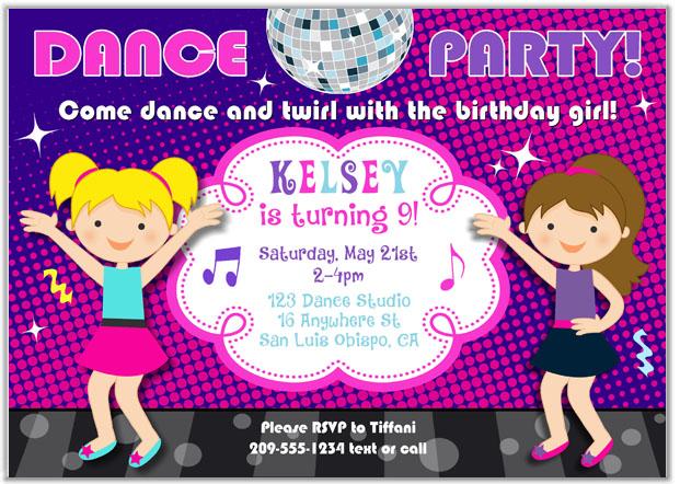 Dance party birthday invitations music kids birthday filmwisefo Images