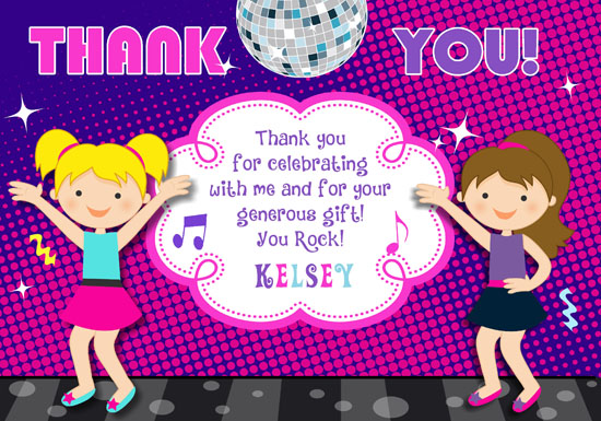 Lime Green Dancing People Personalized Party Thank You Cards