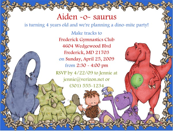 Dinosaur Birthday Party Invitations Dinosaur Kids Birthday