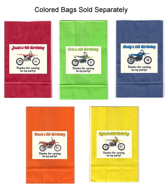 First Birthday Boy Party Loot Bag Single: Dirt Bike Birthday Party Goodie Loot Bag Labels Favors