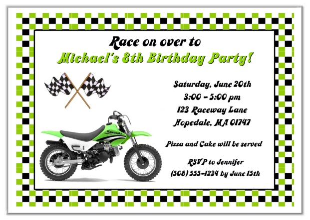 Dirt bike birthday party invitations green dirt bike kids birthday filmwisefo