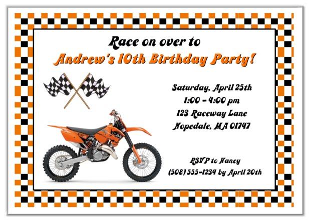 Dirt Bike Birthday Party Invitations Orange   Dirt Bike   Kids Birthday