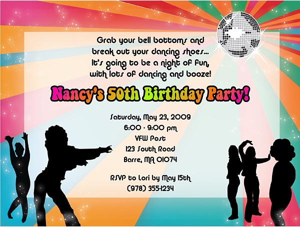 Disco Dance Retro Birthday Party Invitations Adult