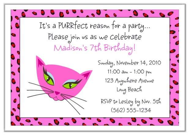Diva Kitty Cat Birthday Party Invitations Diva Kitty Kids Birthday