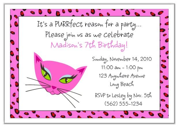 diva kitty cat birthday party invitations