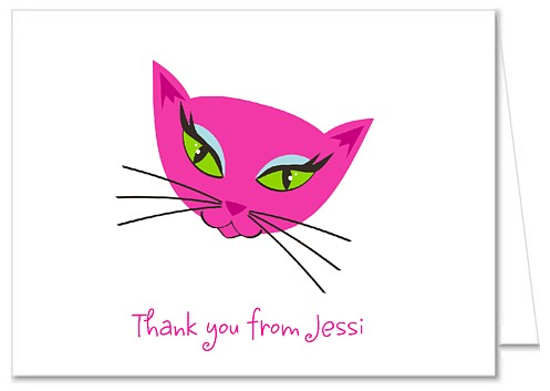 Diva Kitty Cat Birthday Party Thank You Note Cards