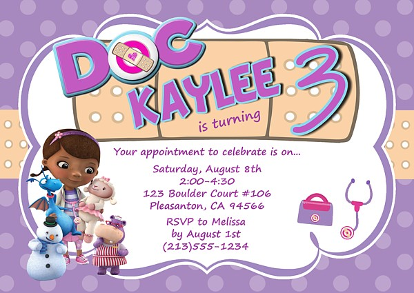 doc mcstuffins birthday party invitations | kids birthday, Birthday invitations