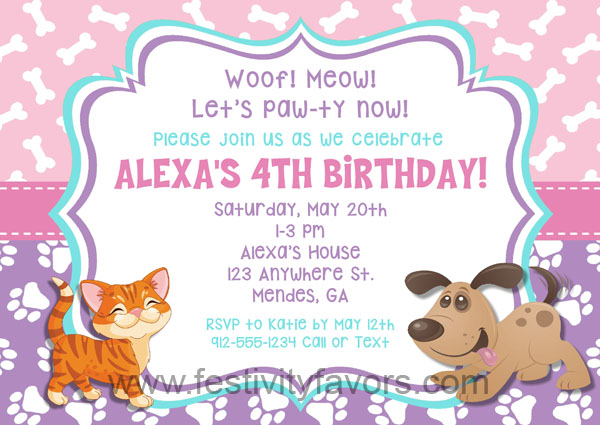 Dog and Cat Birthday Party Invitations Animals – Cat Party Invitations