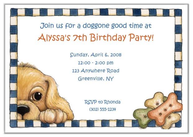 Puppy Dog Birthday Party Invitations Kids