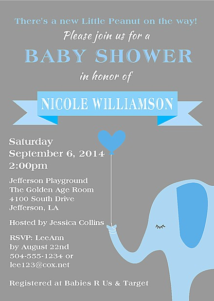 elephant boy baby shower invitations baby shower