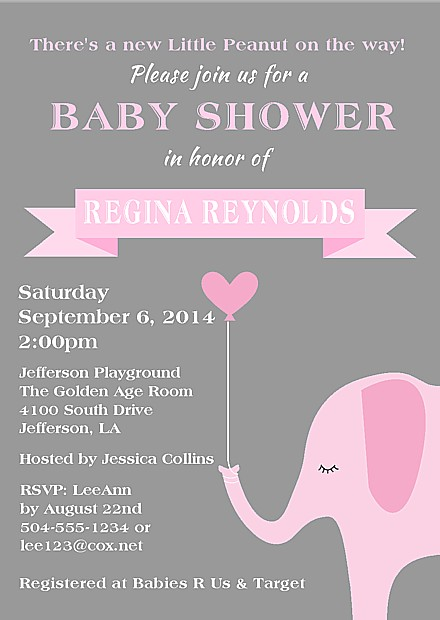 Elephant Girl Baby Shower Invitations Baby Shower