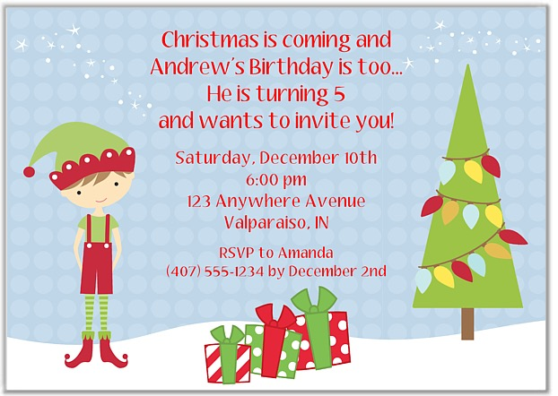 elf boy christmas birthday party invitations