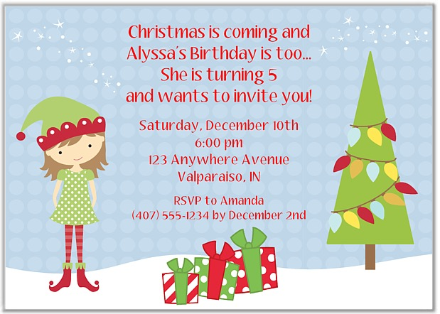 Christmas Birthday Party Invitations.Elf Girl Christmas Birthday Party Invitations
