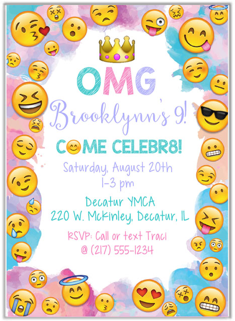 Catalog Emoji Birthday Party Invitations