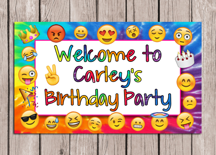 Catalog Emoji Birthday Party Sign Personalized