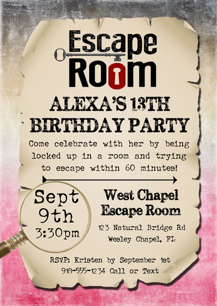 Escape room birthday party invitations kids birthday for Escape room party