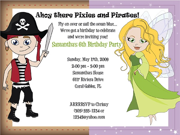 Fairy and Pirate Birthday Party Invitations – Pirate Party Invite
