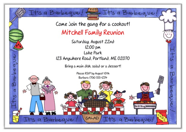 Family Reunion BBQ Barbeque Cookout Party Invitations – Reunion Party Invitations