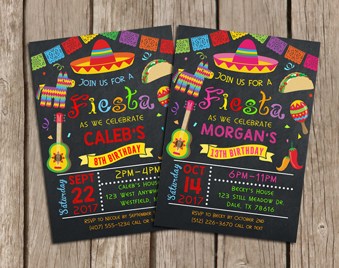 fiesta birthday party invitations | kids birthday | misc occasions, Birthday invitations