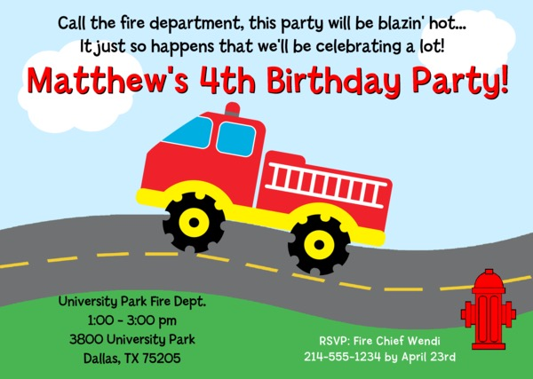 Fire Truck Firefighter Birthday Party Invitations – Fire Truck Birthday Invitation